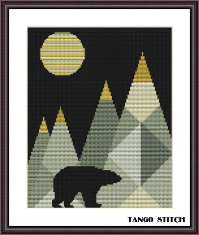 Wild bear at the mountains landscape geometric cross stitch pattern