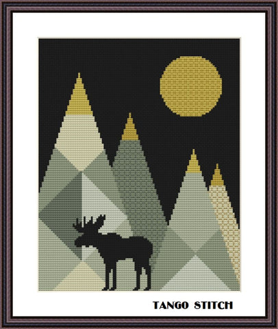 Mountains moose landscape geometric cross stitch pattern