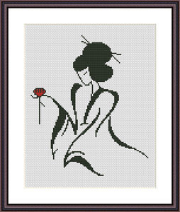 Geisha black and white cross stitch pattern Romantic embroidery design