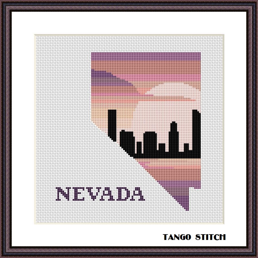 Nevada state map skyline silhouette sunset cross stitch pattern