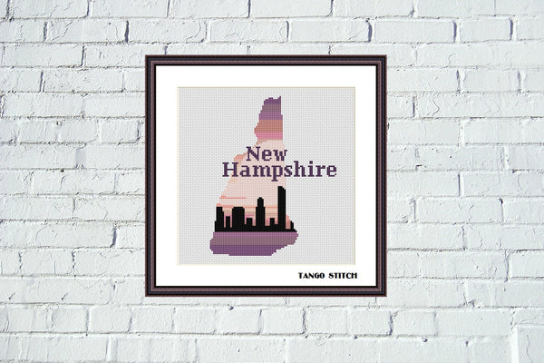New Hampshire state map skyline sunset cross stitch pattern