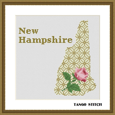 New Hampshire USA state map silhouette cross stitch pattern