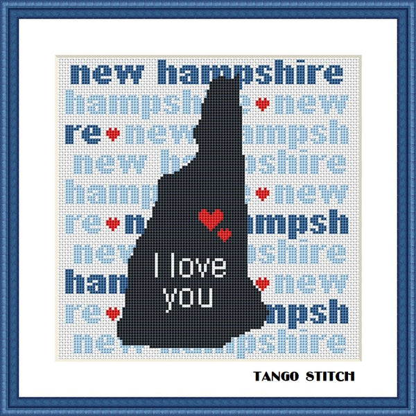 New Hampshire state map typography cross stitch pattern - Tango Stitch