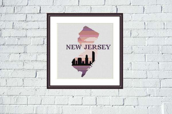 New Jersey state map sunset skyline silhouette cross stitch pattern