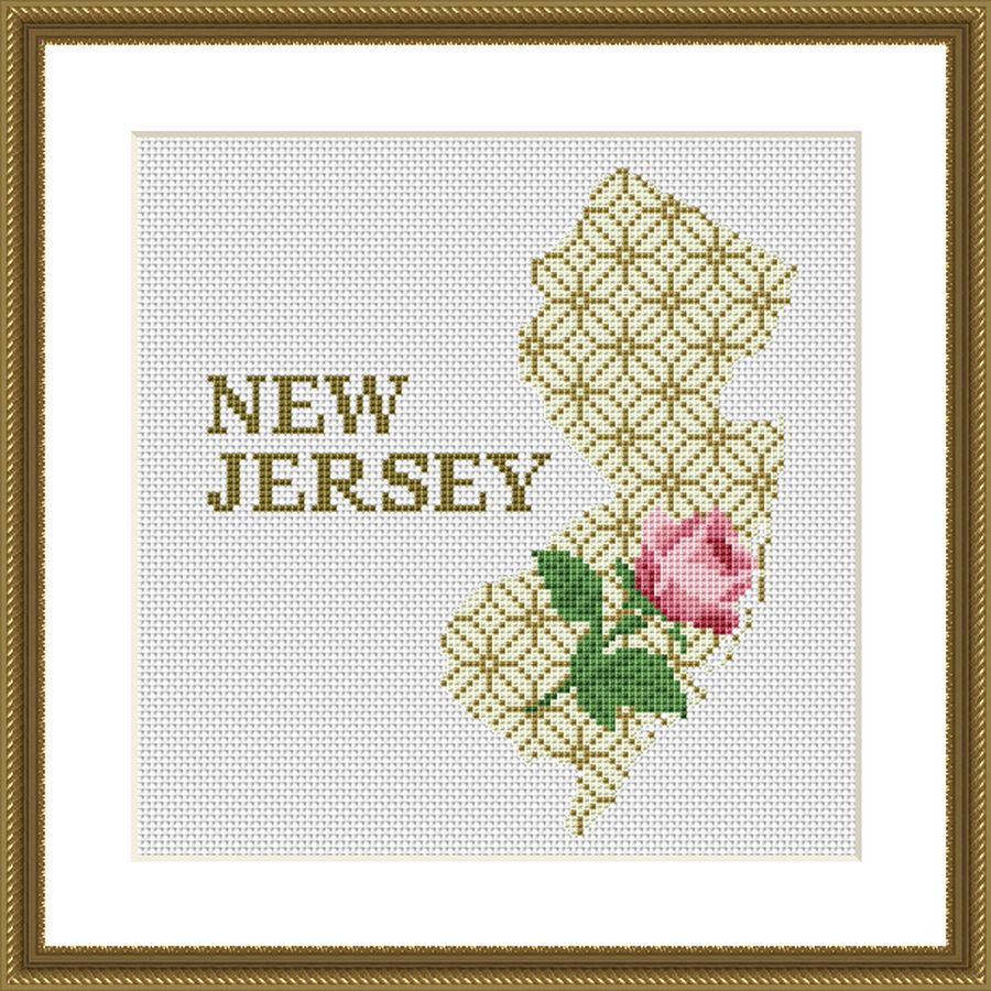 New Jersey state map silhouette rose ornament cross stitch pattern