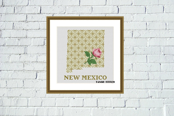 New Mexico state map silhouette rose ornament cross stitch pattern