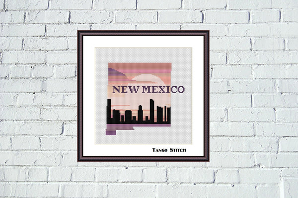 New Mexico state map skyline cross stitch pattern - Tango Stitch