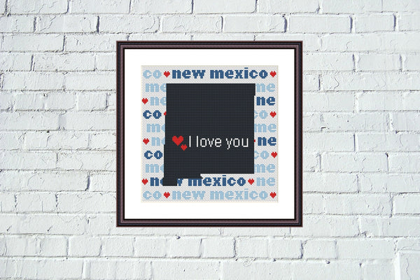 New Mexico state map silhouette typography cross stitch pattern