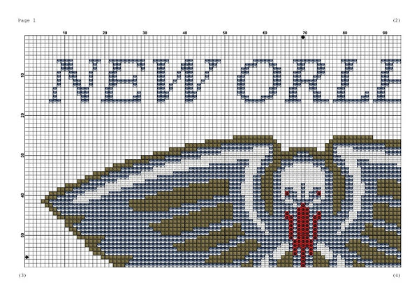 New Orleans Pelicans cross stitch pattern