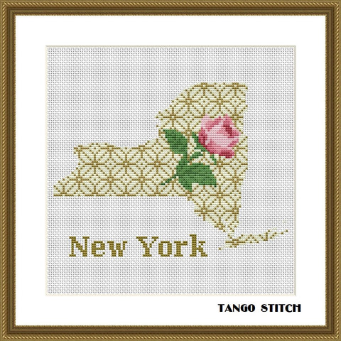 New York USA state map cross stitch pattern