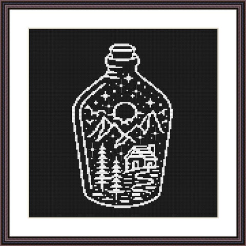 Night at the bottle landscape cross stitch pattern