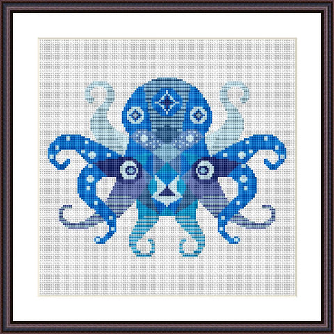 Octopus mandala cute animals cross stitch pattern