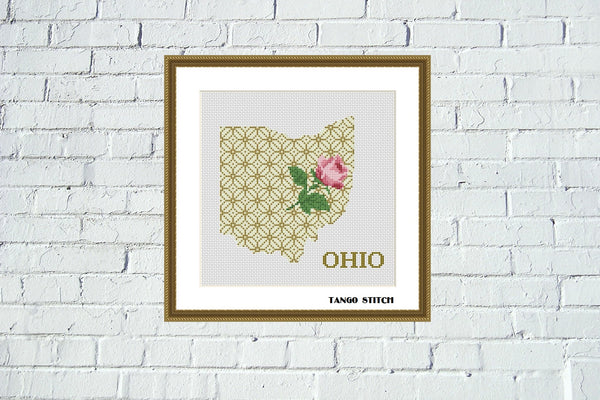 Ohio state map cross stitch pattern - Tango Stitch