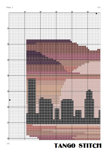 Ohio state map skyline sunset cross stitch pattern