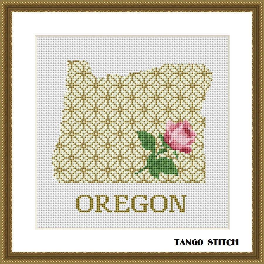Oregon state map silhouette flower ornament cross stitch pattern
