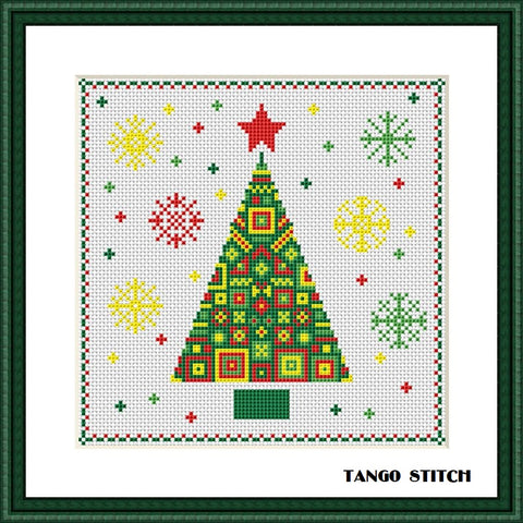 Ornament Christmas tree funny cross stitch pattern