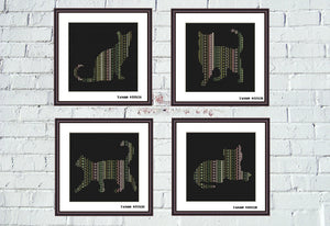 Ornament cats cross stitch Set of 4 patterns, Tango Stitch