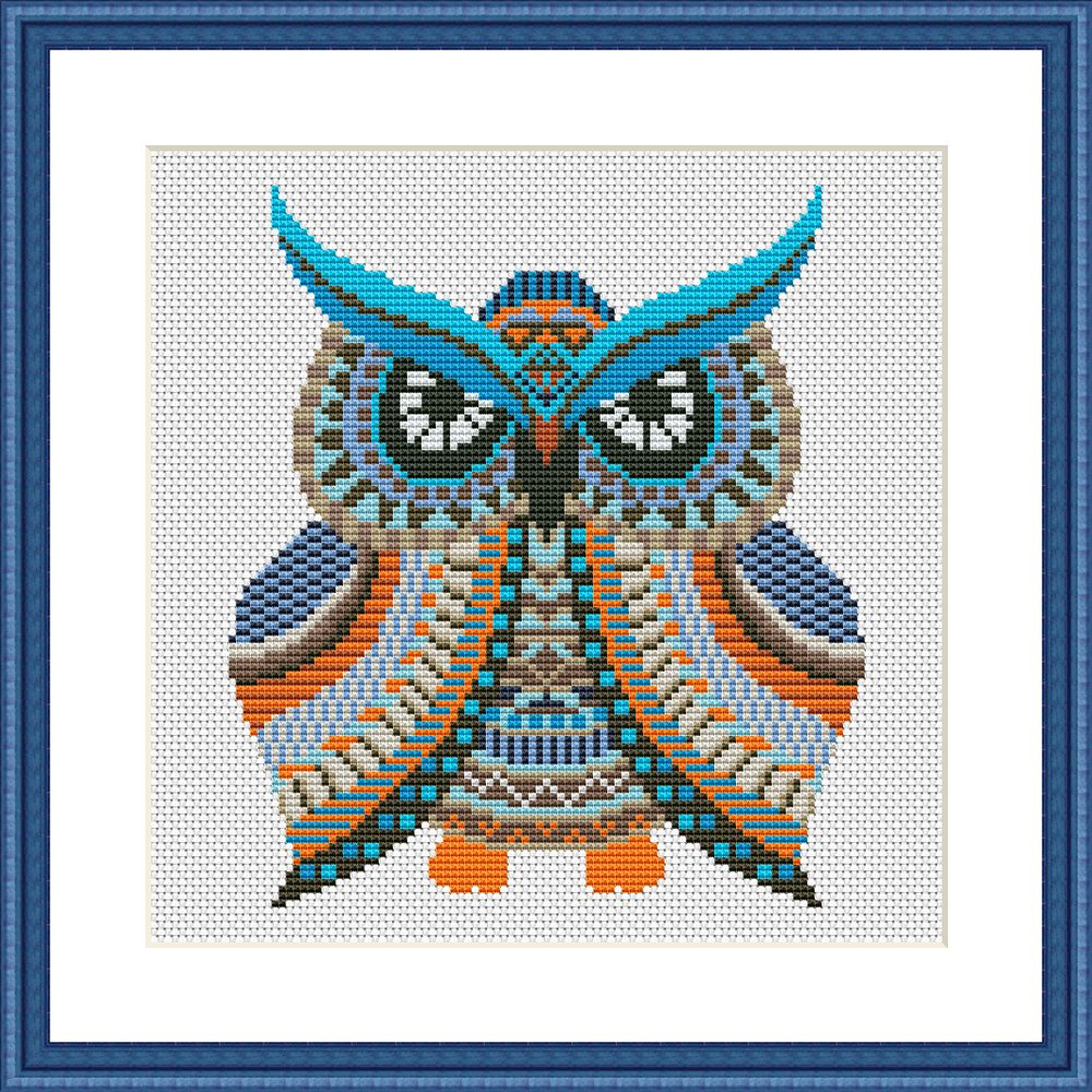 Colorful owl mandala cross stitch pattern - Tango Stitch