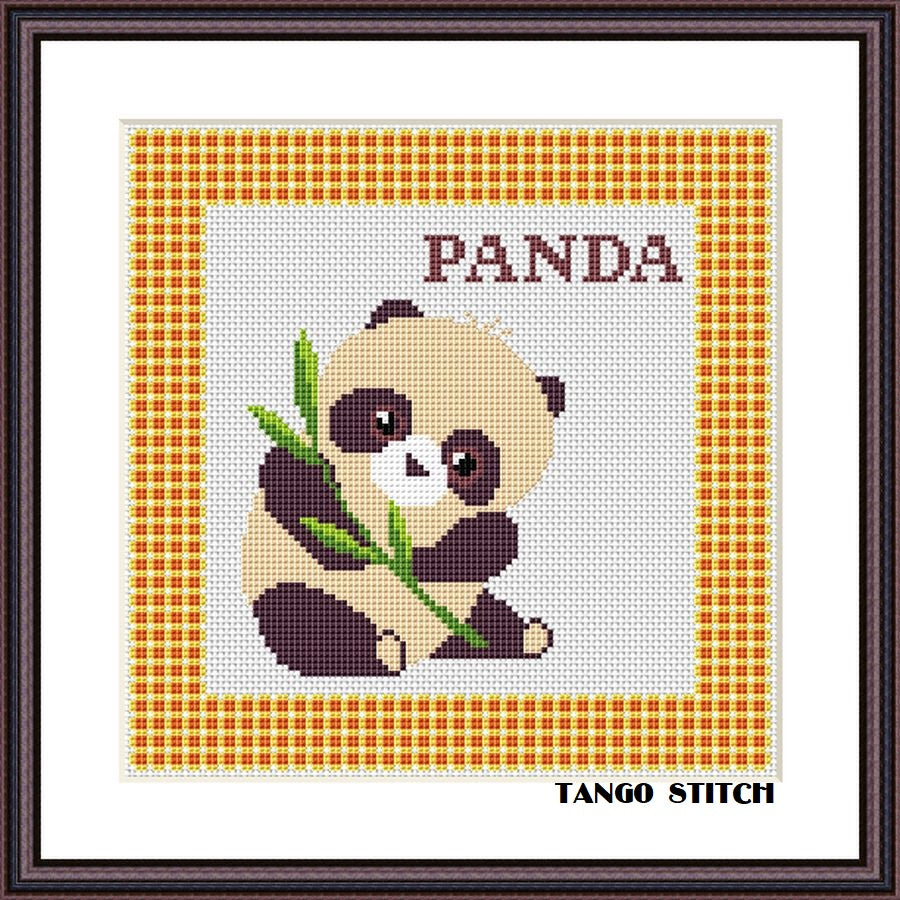 Panda funny cross stitch pattern