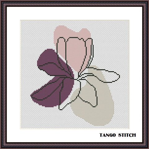 Pastel flower abstract cross stitch pattern