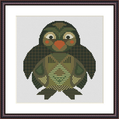 Penguin mandala funny cross stitch pattern