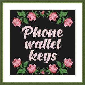 Phone wallet keys rose Home Sweet Home cross stitch pattern