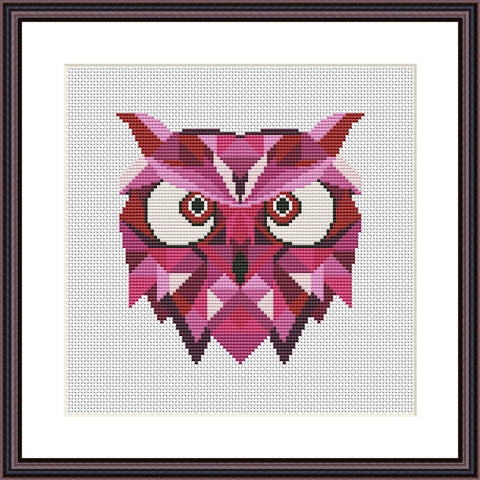 Pink owl mandala easy cross stitch pattern