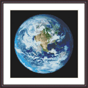 Earth planet cross stitch pattern