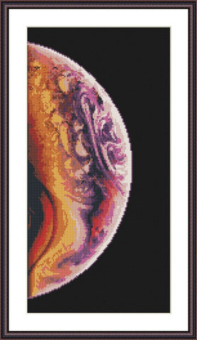 Violet planet Cosmos cross stitch pattern