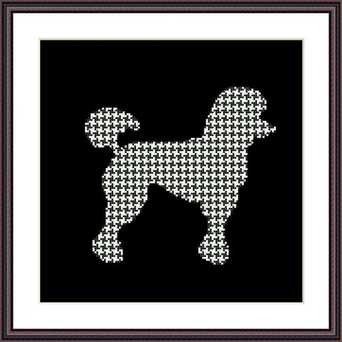 Poodle cute animals black and white ornament cross stitch pattern