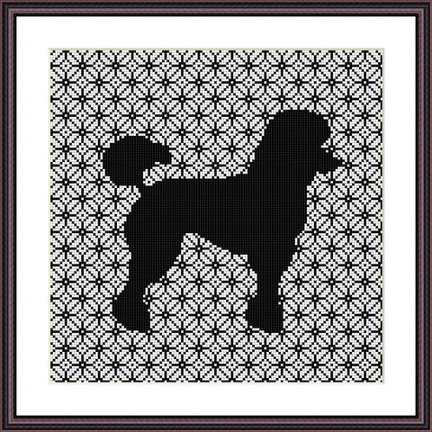 Poodle dog cute animals cross stitch pattern