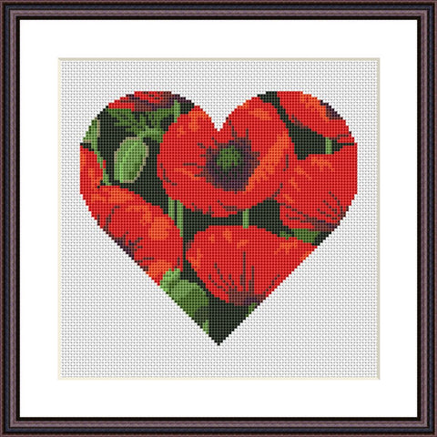 Poppy heart romantic flower abstract Valentines cross stitch pattern