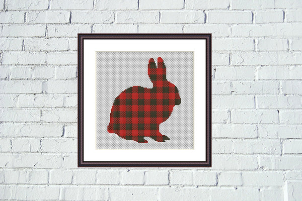 Lumberjack Rabbit funny cross stitch pattern