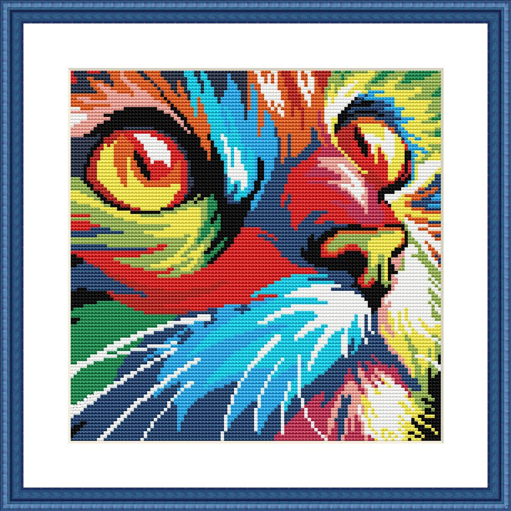 Rainbow cat funny cross stitch pattern