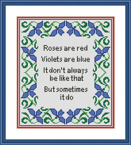 Roses are red vintage funny quote cross stitch pattern