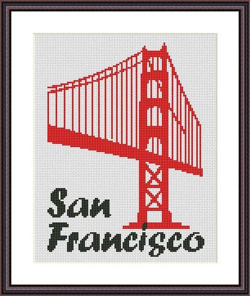 San Francisco Golden Gates bridge cross stitch pattern