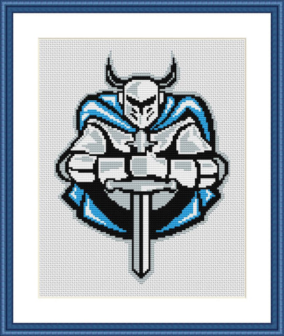 Knight with sword cross stitch pattern