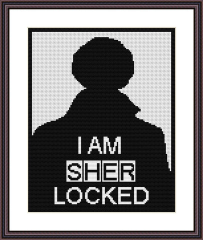 Sherlock Holmes silhouette art black and white cross stitch pattern