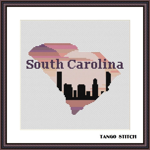 South Carolina USA state map skyline cross stitch pattern, Tango Stitch