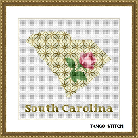South Carolina USA state map flower ornament cross stitch pattern, Tango Stitch