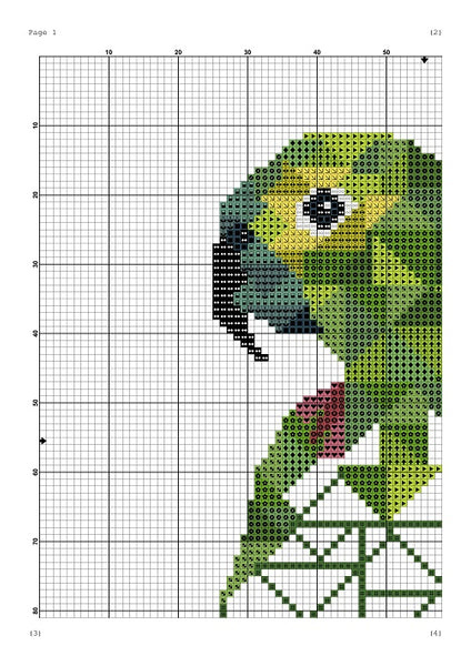 Parrot geometric cross stitch pattern