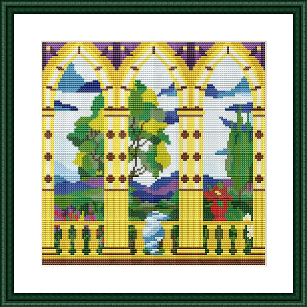 Summer terrace landscape cross stitch pattern