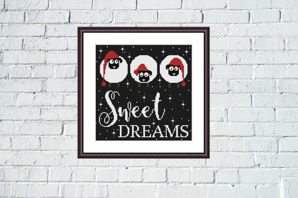 Sweet dreams funny cute sheeps cross stitch pattern