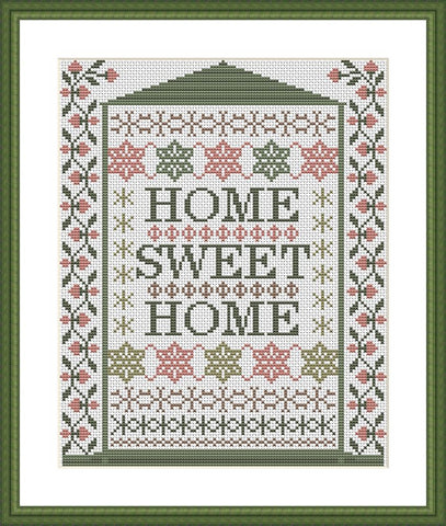 Home sweet home ornament cross stitch pattern