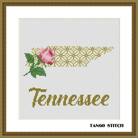 Tennessee USA state map cross stitch pattern