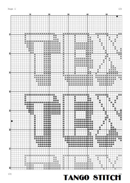 Texas typography cross stitch pattern - Tango Stitch
