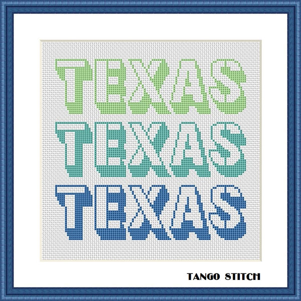 Texas state blue green typography cross stitch pattern