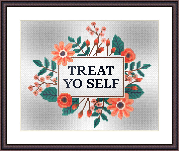 Treat yo self funny sassy cross stitch pattern