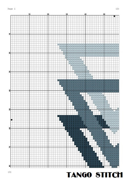 Blue triangles abstract cross stitch pattern