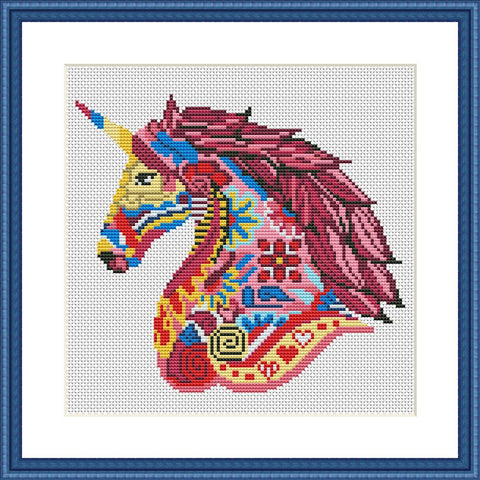 Unicorn mandala cross stitch pattern